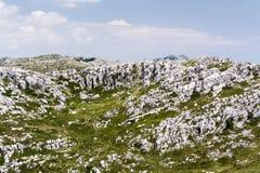 Massiva i lager kalkstenklippor i berg Arkivfoto