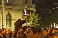 Massive anti-corruption protests in Bucharest Stock Image