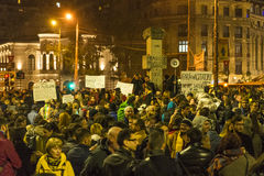 Massive anti-corruption protests in Bucharest Royalty Free Stock Photo