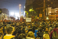 Massive anti-corruption protests in Bucharest Royalty Free Stock Photography