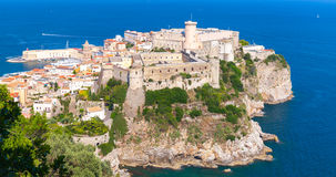 Massive Aragonese-Angevine Castle on the hill. In old town of Gaeta, Italy Stock Photos