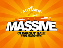 Massive autumn sale design with shopping bag. Royalty Free Stock Photography