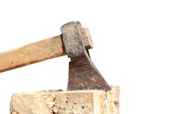 Massive ax over white Royalty Free Stock Images