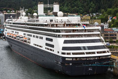 Massive Black and White Cruise Ship Docked in Juneau Royalty Free Stock Photo
