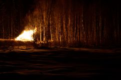 Massive bonfire in winter night Royalty Free Stock Photography