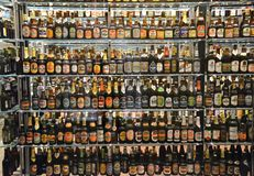 The Massive Bottle Collection at The Carlsberg Brewery in Copenhagen Royalty Free Stock Images