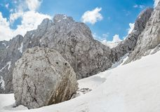 Massive boulder on mountain slope Royalty Free Stock Photography