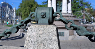 Massive bronze chain Royalty Free Stock Images