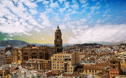 Church and Skyline of Malaga Stock Images