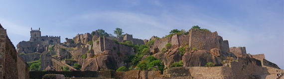 Massive citadel ruins of the  Golconda Fort Royalty Free Stock Image