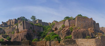 Massive citadel ruins of the  Golconda Fort Royalty Free Stock Photos