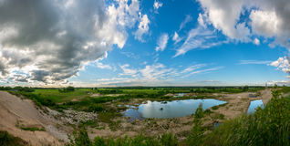 Beautiful summer landscape. Blue lake and clear sky. Panorama Royalty Free Stock Images