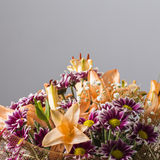 Massive colorful flower bouquet on a grey background Royalty Free Stock Image