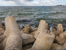Massive concrete breakwaters Royalty Free Stock Images