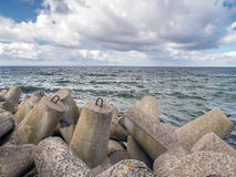 Massive concrete breakwaters Royalty Free Stock Photography