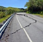Massive Cracks in The Hunderlee Hills after Kaikoura Earthquake stock image