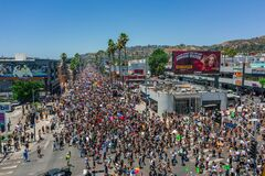 Free Massive Crowds Gathered On Sunset Boulevard During Black Lives Matter Protests In Los Angeles California Royalty Free Stock Image - 187788786
