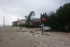 Massive devastation in the aftermath of Hurricane Sandy in Far Rockaway, New York Royalty Free Stock Image