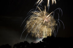 Massive explosion of fireworks rockets Royalty Free Stock Images