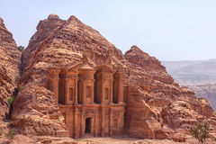 Massive facade of the largest monument in Petra, Monastery Stock Photo