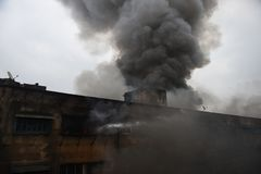 Massive Fire at Kolkata Wholesale Market. Major foire break down in the largest whole sale market place of Kolkata - Bagri Market on Sunday , September 16 , 2018 royalty free stock photo