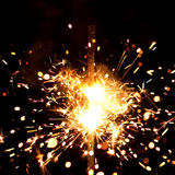 Massive firework. Burning sparklers massive firework with large group of particles Royalty Free Stock Photos