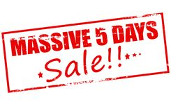 Massive five days sale. Rubber stamp with text massive five days sale inside,  illustration Royalty Free Stock Images