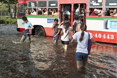 Massive flooding in Bangkok. Thailand Stock Photo
