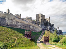 Massive fortification of The Castle of Beckov Stock Photos