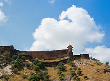 Massive fortified walls of Jaigarh Fort on a hill above Amber Fo Stock Photography