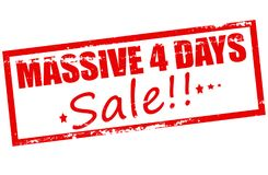 Massive four days sale. Rubber stamp with text massive four days sale inside,  illustration Stock Photography