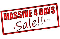 Massive four days sale. Rubber stamp with text massive four days sale inside,  illustration Royalty Free Stock Photo