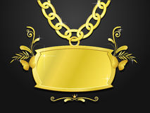 Massive gold set of sign and chain. Gold set of chain and the massive sign with nature elements Stock Photos