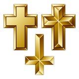 Massive goldene christliche Kreuze Stockfotografie