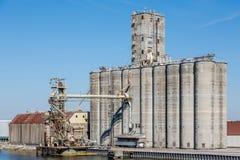 Massive Grain Silos. Grain silos in harbor near Tampa, Florida stock photography