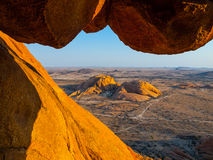 Massive granite rock formations in namibian Stock Image