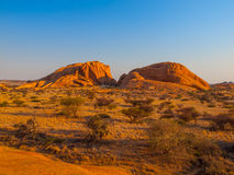 Massive granite rock formations in namibian Royalty Free Stock Photos