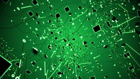 Massive Green Circuitry Grid Structure Orbiting Loop. A massive circuitry grid orbiting in 3D space stock footage
