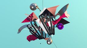 Abstract colorful composition. Massive heap of strange things and geometric shapes, trendy abstraction, high resolution 3D render Royalty Free Stock Image