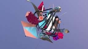 ABstract shapes composition. Massive heap of strange things and geometric shapes, trendy abstraction, high resolution 3D render Stock Images