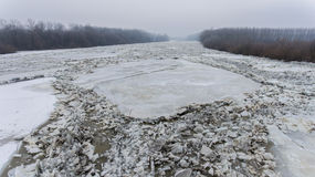 Massive ice floes on Tisza river Royalty Free Stock Photography