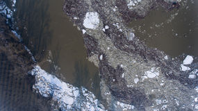 Massive ice floes on Tisza river Stock Photography
