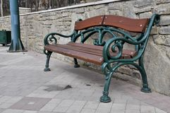 Massive iron bench stock image