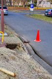 Massive Japan earthquake 11th of March 2011. Pedestrian pavement collapsed after massive Japan earthquake on 11th of MArch , 2011 Royalty Free Stock Image