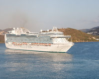 Massive Luxury Cruise Ship in St. Thomas Bay Royalty Free Stock Image