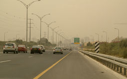 Massive Middle East sand storm in Tel Aviv,Israel. Highway in Central Part of Israel - 11th Sep, 2015. Traffic during a sandstorm near the Petah Tikwa,Central royalty free stock image