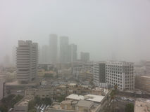 Massive Middle East sand storm in Tel Aviv,Israel Stock Photo