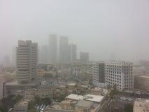 Massive Middle East sand storm in Tel Aviv,Israel Stock Photo