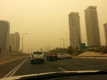 Massive Middle East sand storm in Tel Aviv,Israel royalty free stock photos