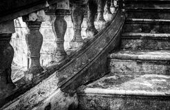 Massive old staircase with beautiful details. Stock Photo